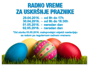 Hours for the Easter holidays - 2016